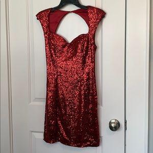 Red sequin glitter Guess dress